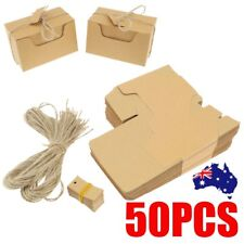 50X Kraft Paper Gift Boxes Candy Cake Cookie Party Wedding Favors Bag+String Tag