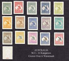 Australia Kangaroo Set of 15 Sg1-16 (forgeries)