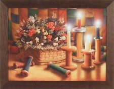 HOMESPUN TREASURES by Doug Knutson 22x28 FRAMED PICTURE Candles Quilt Flowers