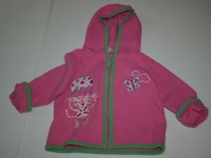 Used Hanna Andersson Girls 90 3 year Quilted Pink Jacket Hoodie Zips Happy Cat