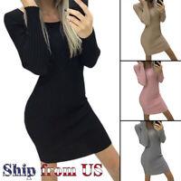 Women Sexy Bodycon Knit Sweater Dress Casual Slim Long Sleeve Mini Jumper Party