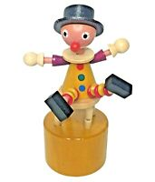 Vintage Wooden Clown Wakouwa Push Thumb Finger Puppet DRÜCKTIER