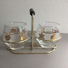 Vintage MCM Libbey Cream and Sugar with Metal Carrier Wood Handle Gold Leaf NICE
