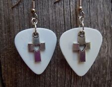 Cross with Heart Cutout Charm Guitar Pick Earrings with Surgical Steel Earwires