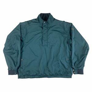 FJ Footjoy DryJoys Green Plaid Golf Windbreaker Jacket 1/4 Zip Men's XL
