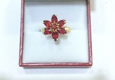 14k Solid Yellow Gold Ruby Flower Ring 2.65GM Size 7