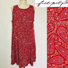 FREE PEOPLE Red Plum  Paisley Rayon Blend Sleeveless Mini Dress Sz Small Boho