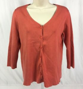 Ann Taylor Women's 3/4 Sleeve Button Front V-Neck Knit Cardigan Coral Size M