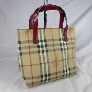 Authentic Rare Vintage Burberry Haymarket Check Mini Tote Handbag Purse Good Con