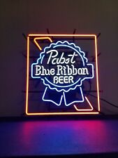 Pabst blue ribbon beer neon light up bar sign game room man cave pbr mib