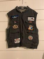 Mens Vintage Harley Davidson Motrocycle Vest Size Large Patches Zipper Hood
