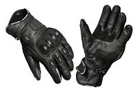 Motorcycle Motorbike Short Leather Breathable Sports and Racing Gloves Black
