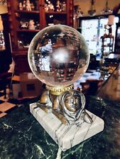 Antique French Bronze Marble Sphinx Crystal Ball Oracle Paranormal