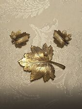 Vintage Sarah Coventry brushed gold tone with pearls leaves Brooch & Earrings