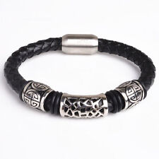 Mens Stainless Steel Braided Leather Bangle Magnetic Bracelet + Box #BR41
