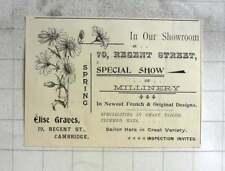 1900 Elise Graves Special Show Of Millinery Regent Street Cambridge