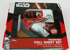 New Star Wars Full Sheet 4 Piece Set Disney Red Black White Microfiber