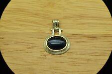 925 Sterling Silver Oval Cat'S Eye Quartz Pendant Charm #X2322