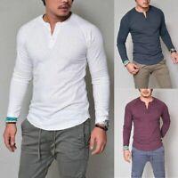 Fashion Mens Slim Shirt V Neck Long Sleeve Tee T-shirt Casual Tops Blouse New