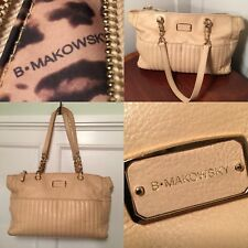 B. MAKOWSKY Beige/Ivory White ARABELLA Pebbled Leather Shoulder Bag Handbag