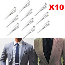10PCS Silver Metal Simple Gentleman Practical Plain Necktie Tie Bar Clip Clasp