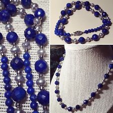 """VINTAGE LAZULI LAPIS STERLING SILVER PEARL NECKLACE 15 1/2"""" LONG"""