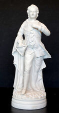 """14"""" ANTIQUE Victorian MAN & TRICORN HAT Vintage PARIAN WARE STATUE / Bennington?"""