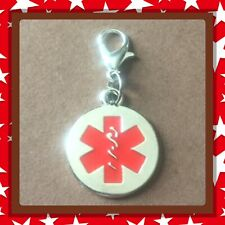 ❤️ Medical Alert Emergency ❤️ Zipper Pull Charm with Lobster Clasp /new
