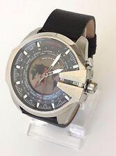 Diesel Herren Uhr Mega Chief World Time schwarz rot Leder Weltzeit Datum DZ4320