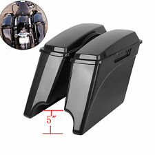 "5"" Unpainted Extended Stretched Saddle Bags Lids for Harley Touring Road King"