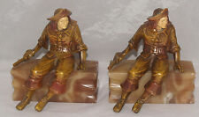 VINTAGE PAIR OF ART DECO PIRATE FIGURAL ALABASTER MARBLE ITALY BOOK ENDS