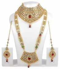 376 Indian Bollywood Style Fashion Gold Plated Bridal Jewelry Necklace Set