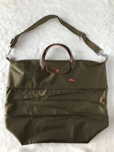 Longchamp Le Pliage Club Expandable Travel Bag with Shoulder -  Army Green XXL