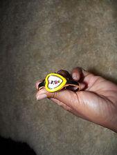 Vintage rare Disney Minni mouse yellow enamel heart gold tone watch bracelet