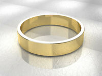 9ct Yellow Gold Flat Band Wedding Ring Light Weight British Made Hallmarked