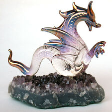 Dragon Serpent Figurine Blown Glass  Amethyst Crystals