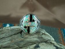 Opal and Onyx Inlay Ring, size 12 1/2
