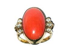 Ring Gold 585 Koralle Diamanten Niederlande 60erJahre Ø 18mm Ringgröße 57