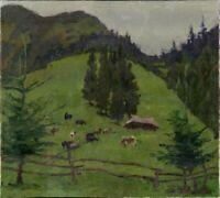 """Russischer Realist M. Zuew Öl Leinwand """"Auf der Weide"""" 120 x 100 cm"""