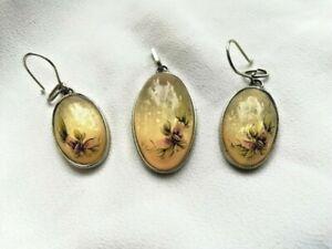 Vintage Russian Moonstone Gemstone Set, Earrings and Pendant