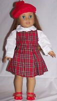 """Doll Clothes 18"""" Doll Dress Plaid Jumper Red Blouse Fit AG Doll Molly 1940"""