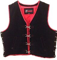 Motorcycle Vest Suede Leather Motorbike Biker Hand Braided Suede Red Club Vest