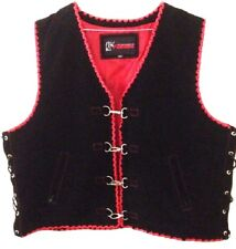 Motorcycle Vest Leather Suede Red Motorbike Biker Style Hand Braided Vest