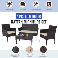 Rattan 4pc Patio Furniture Set with 2 Outdoor Chairs Sofa & Table Walnut Beige