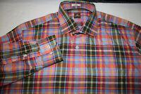 Peter Millar Men's Sz Large 100% Cotton Madras Plaid Long Sleeve Button Shirt
