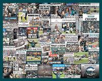 Philadelphia Eagles 2018 Superbowl Newspaper Collage print. Over 30 Headlines