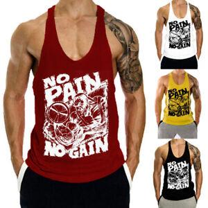 Men's Gym Singlet Tank Top Stringer Bodybuilding Muscle T-Shirt Fitness Vest