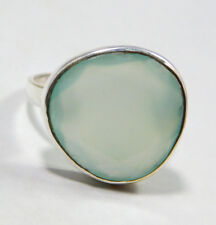 Natural Chalcedony Gemstone solid 925 sterling silver Ring jewelry mother's day