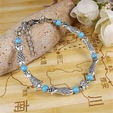 Pulsera mujer con plata tibetana azul turquesa 17 cm largo mas 4 cm extension
