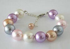 Multicolor White Pink Purple Gray Yellow Shell Pearl Link Clasp Bangle Bracelet